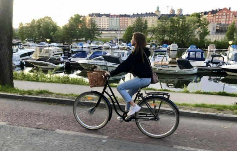 Woman rides the bike