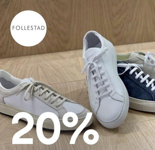 20% og gratis frakt på sneakers. deal image.