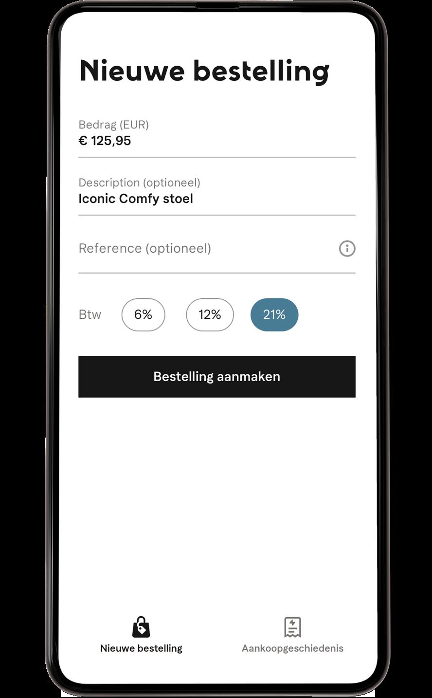 Betaalkeuze mobiel scherm