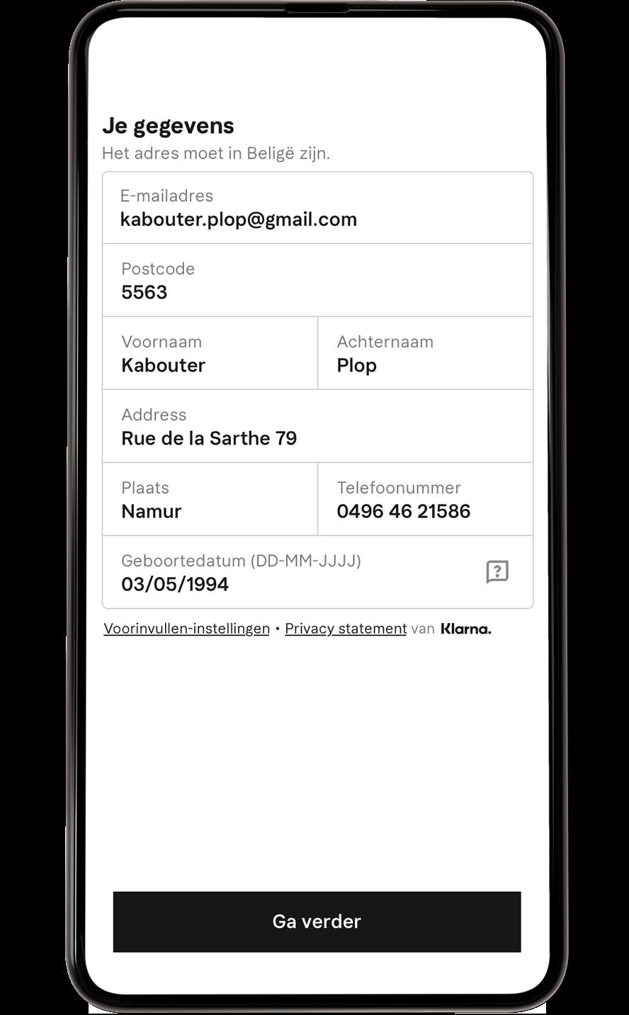 Vooringevuld adres mobiel scherm