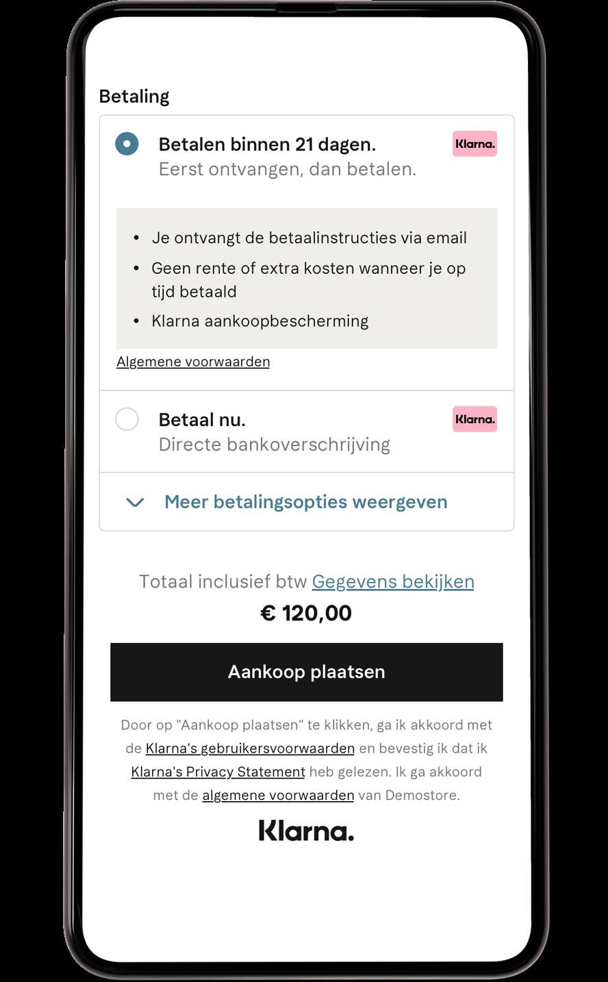 Betaalen binnen 21 dagen checkout mobiel scherm