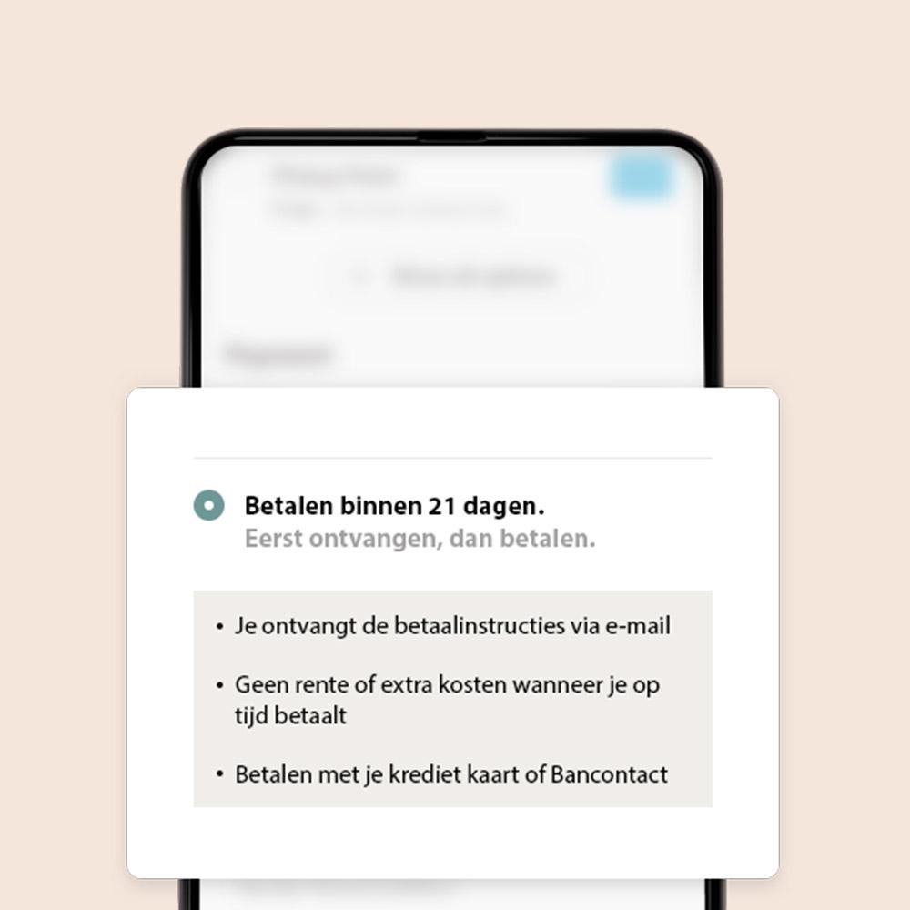Betalen binnen 21 dagen mobiel scherm