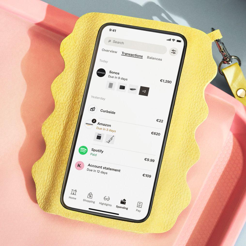 Klarna App mobil scherm