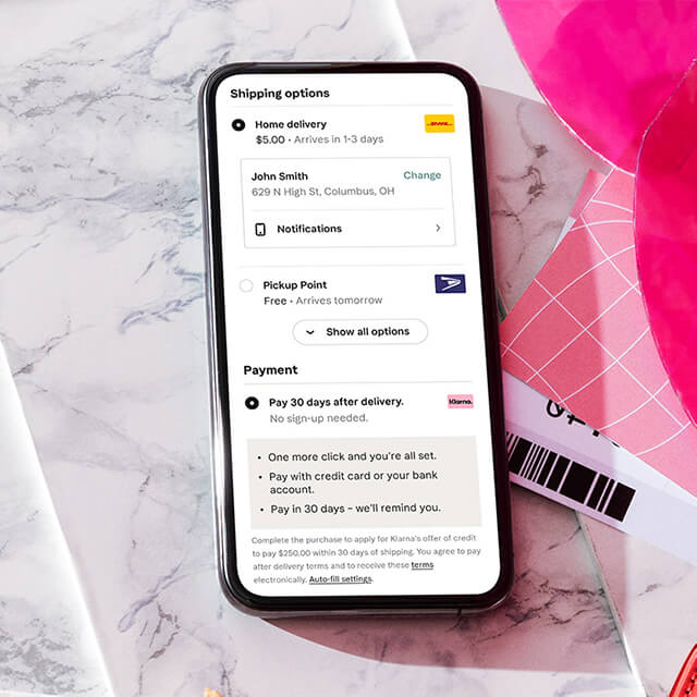 Phone screen with Klarna Checkout