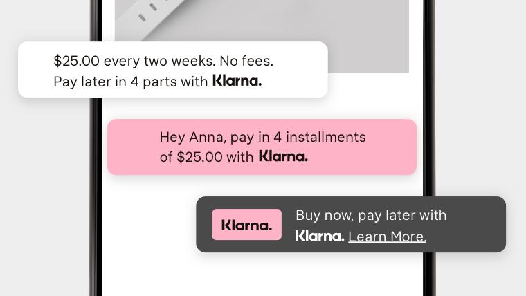 Klarna On-site messaging