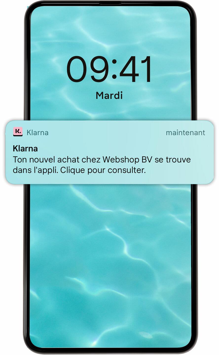 Notifications push écran mobile.