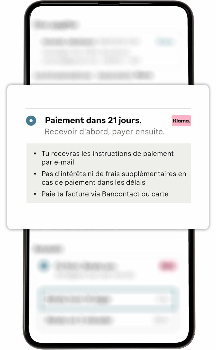 Paye dans 21 jours écran mobile.