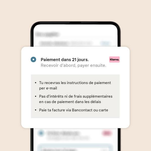 Paye dans les 21 jours écran mobile.