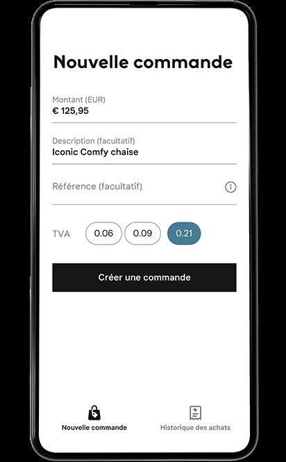 Écran mobile choix de paiement.