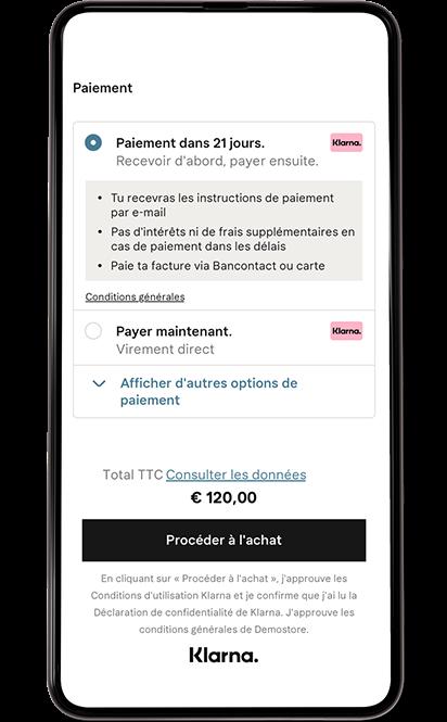 Méthodes de paiement écran mobile.