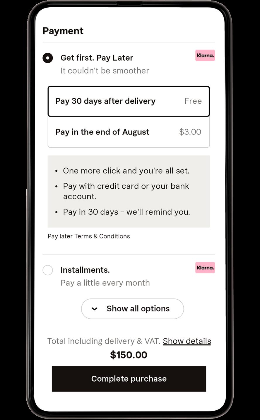 Klarna Checkout payment methods