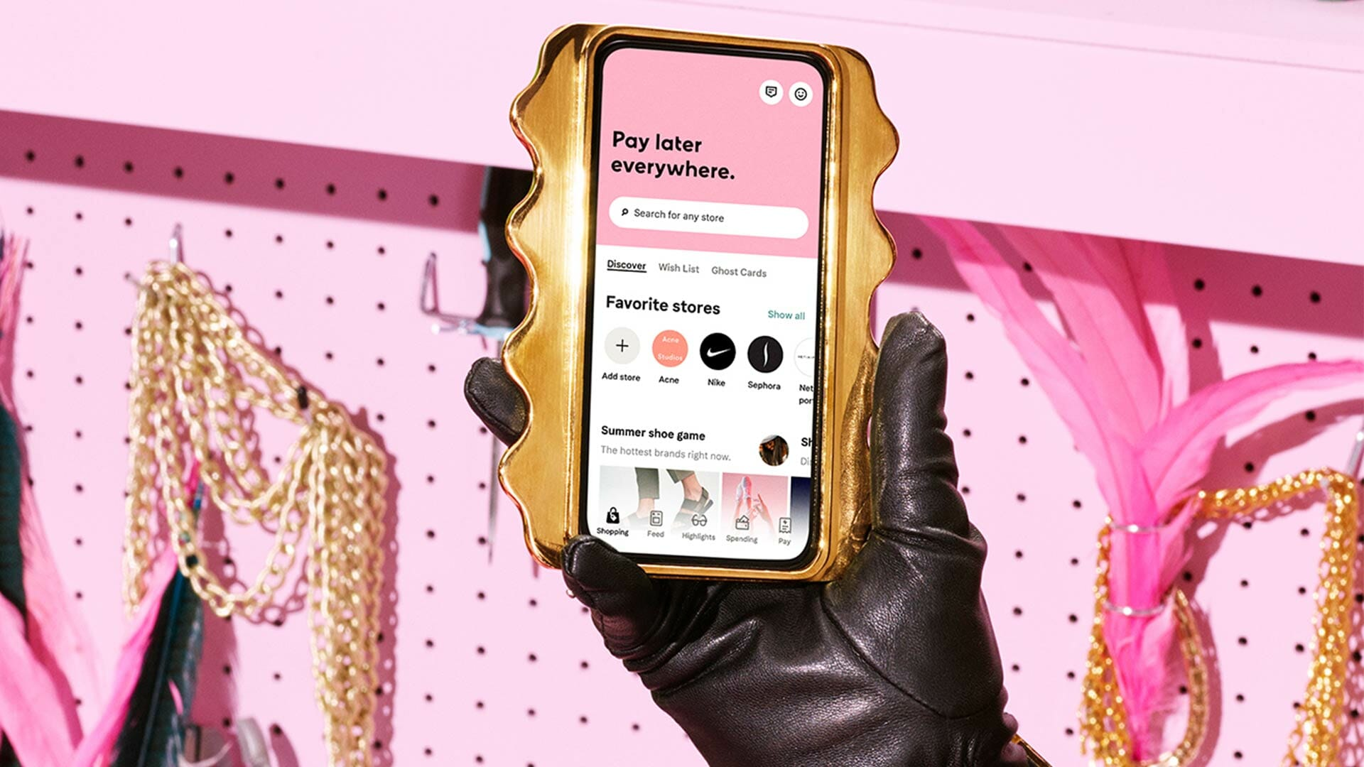 Smartphone showcasing Klarna's shopping app.