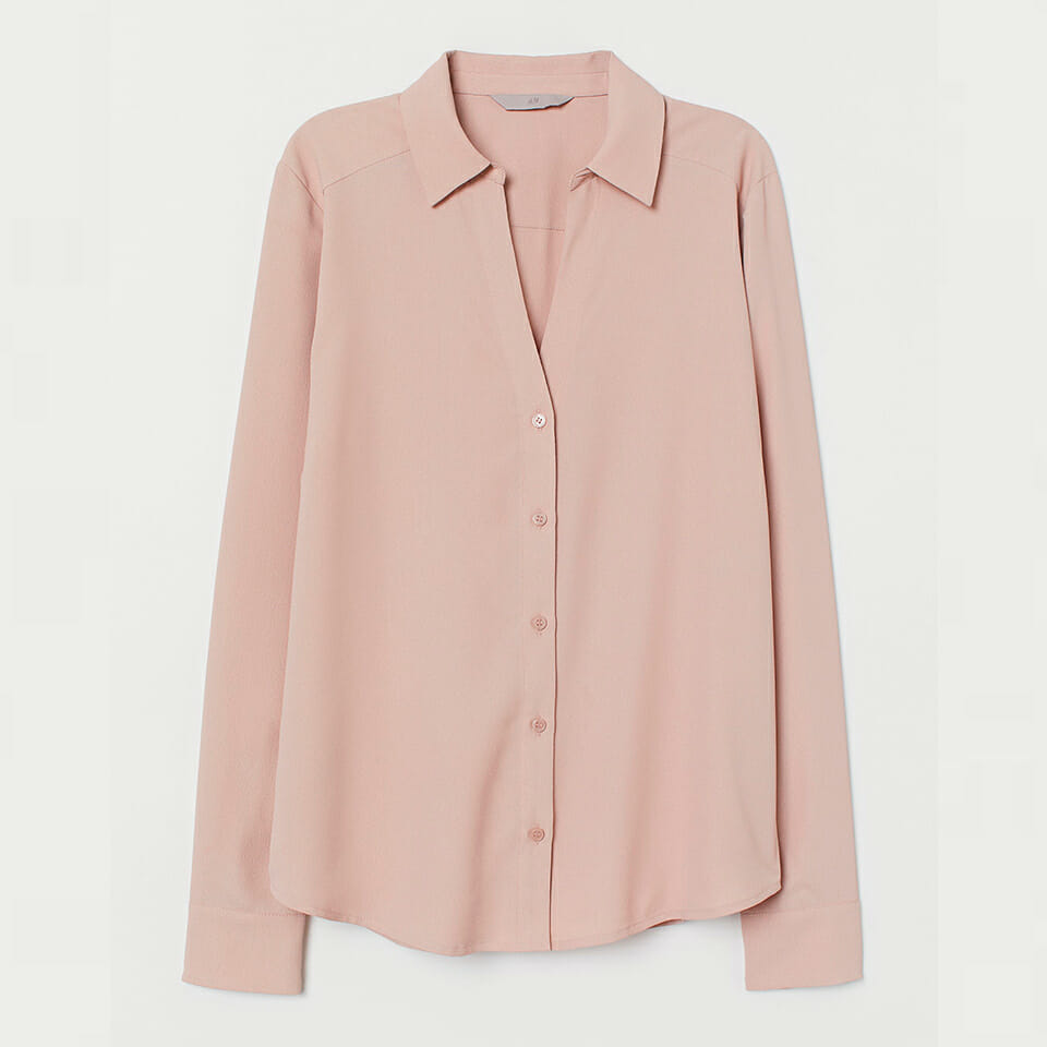 Powder Pink V-Neck Blouse