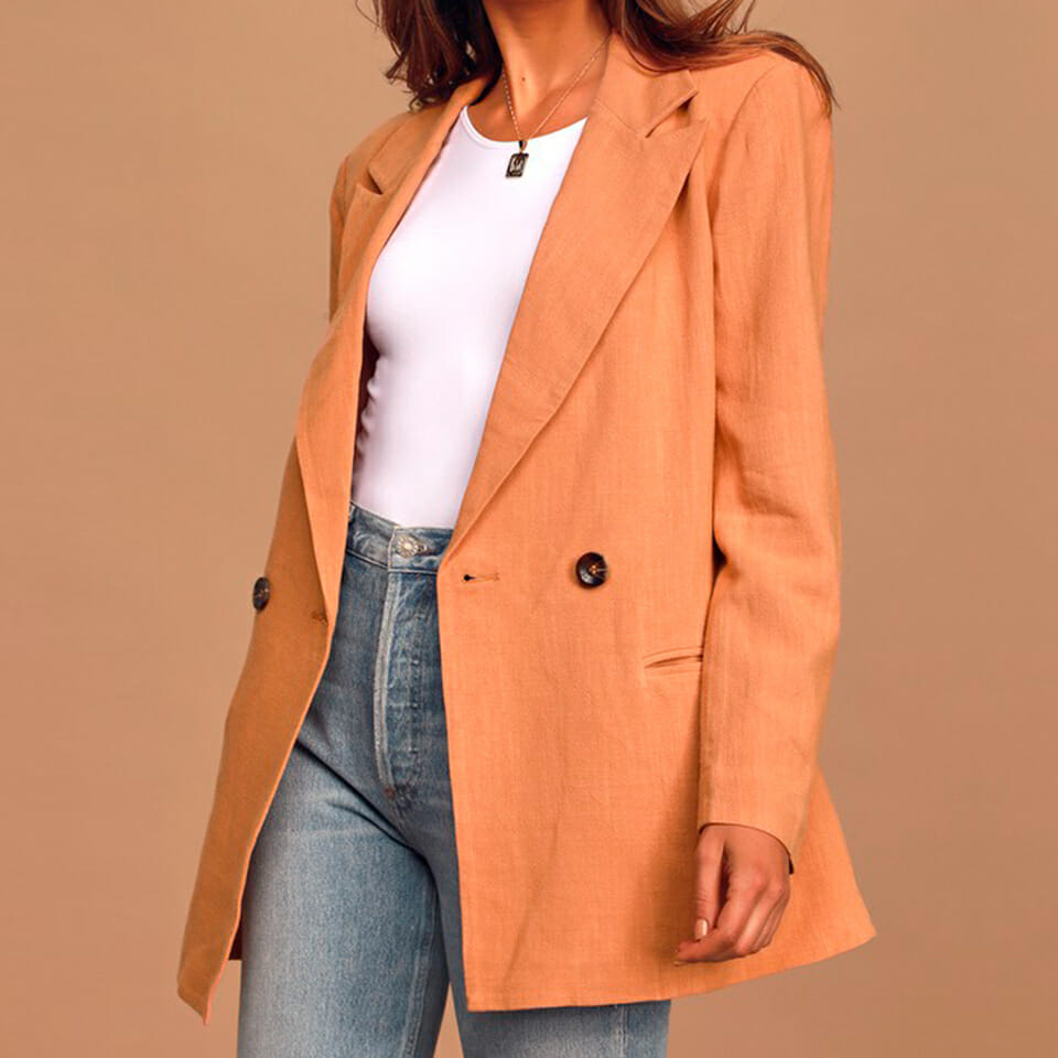 Peach Oversized Double-Breasted Blazer