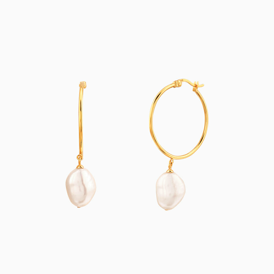 Organic Pearl Large Hoops