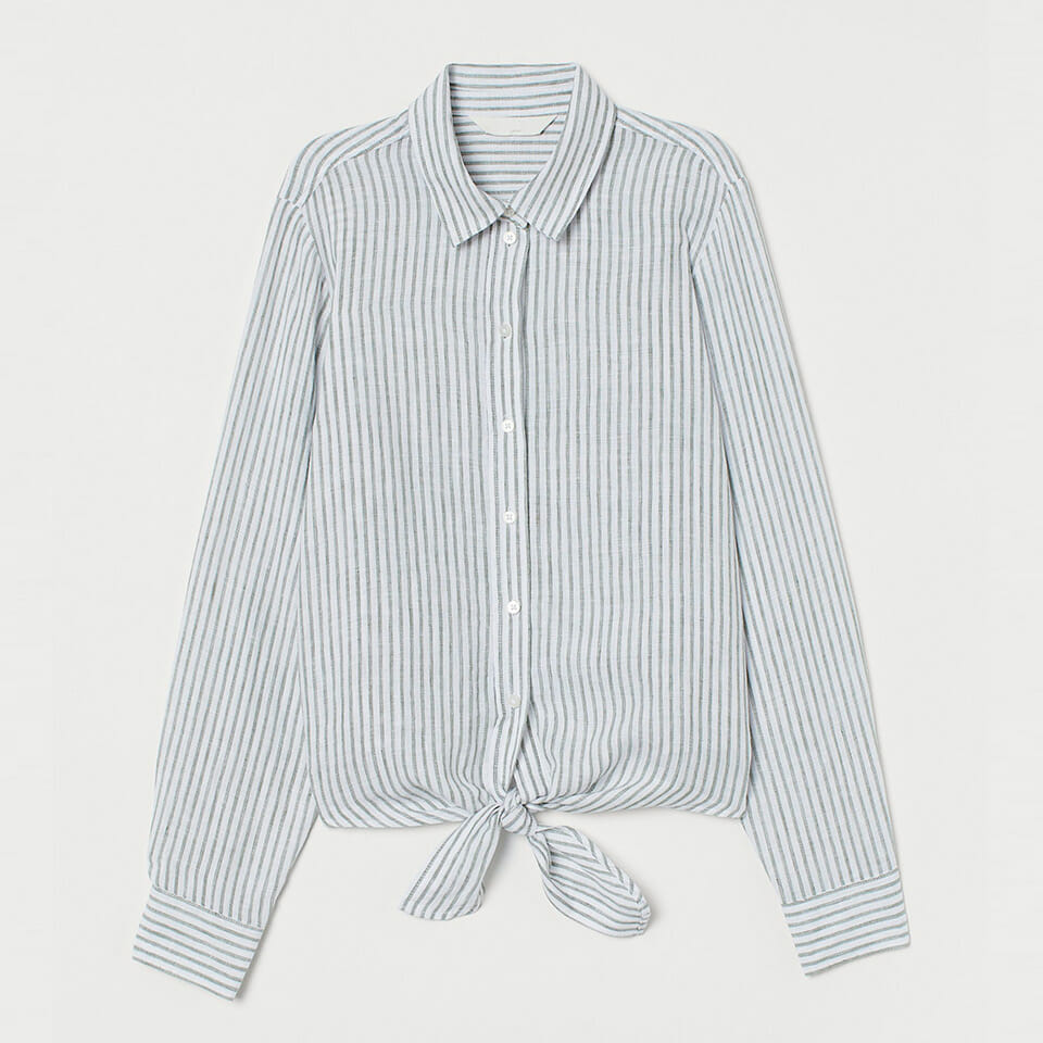 Striped Tie-Hem Linen Shirt