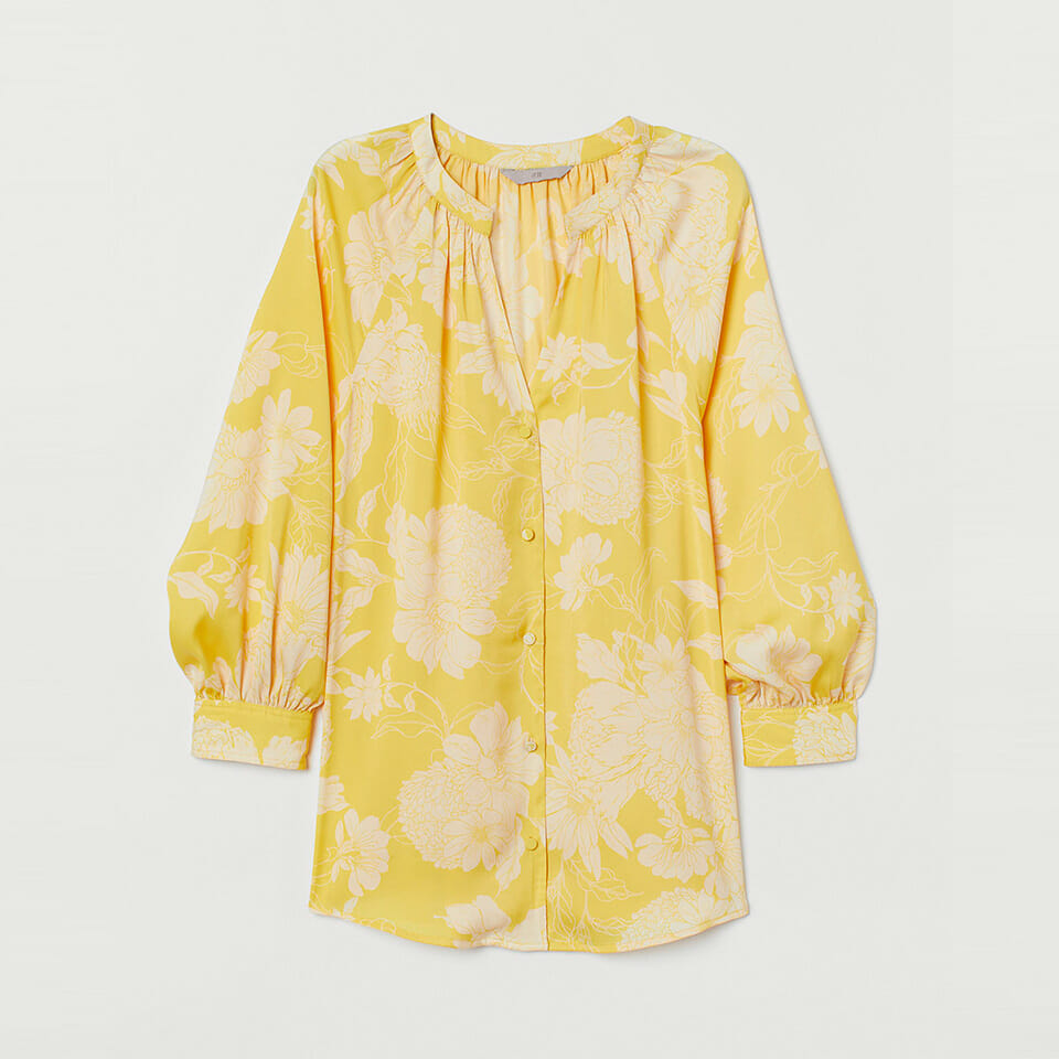 Yellow V-Neck Satin Blouse