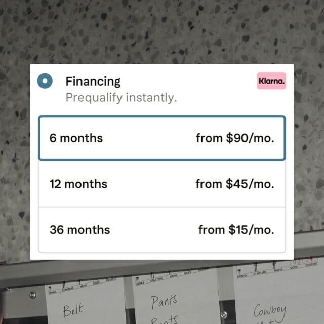 Financing at checkout