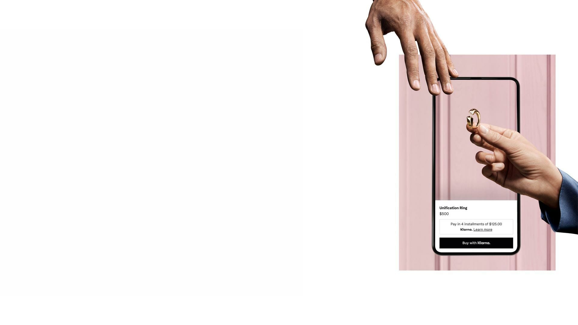 Pink background giving ring and mobile image.