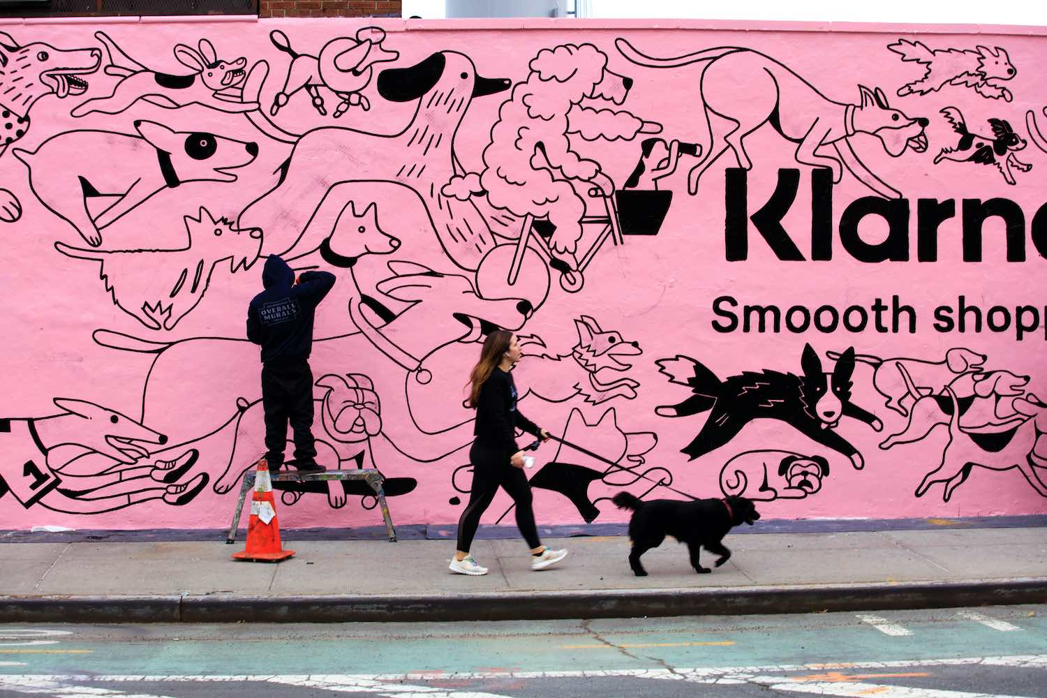 Who's A Good Shopper pink dog mural