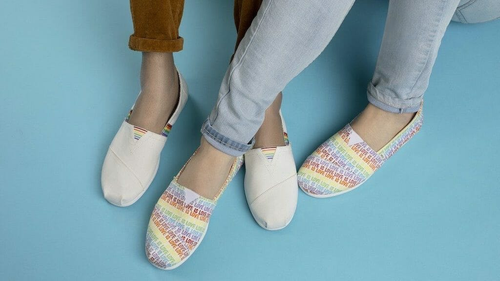Rainbow print shoes