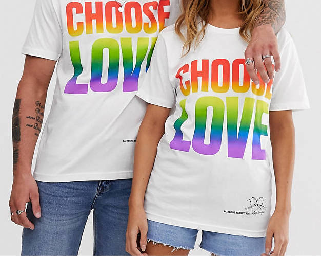 White shirt with rainbow Choose Love