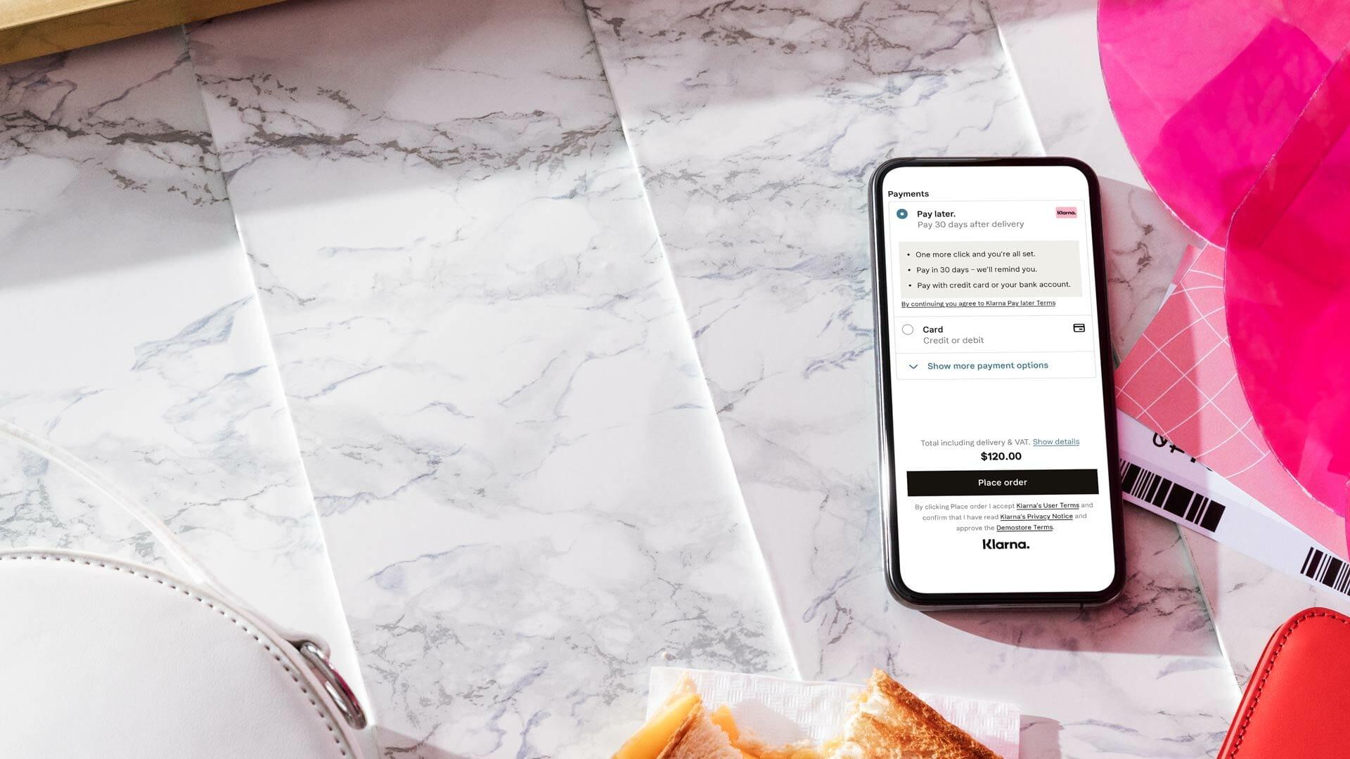 Klarna Checkout on a mobile screen