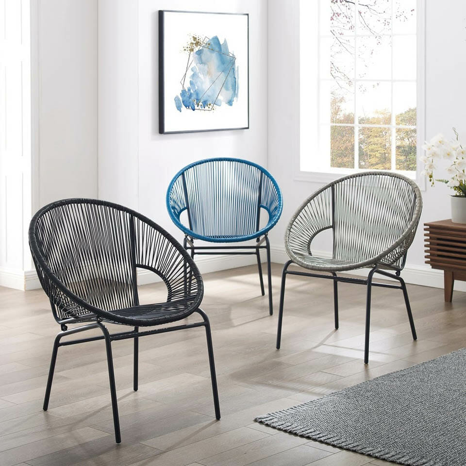 Pair of Woven Accent Chairs
