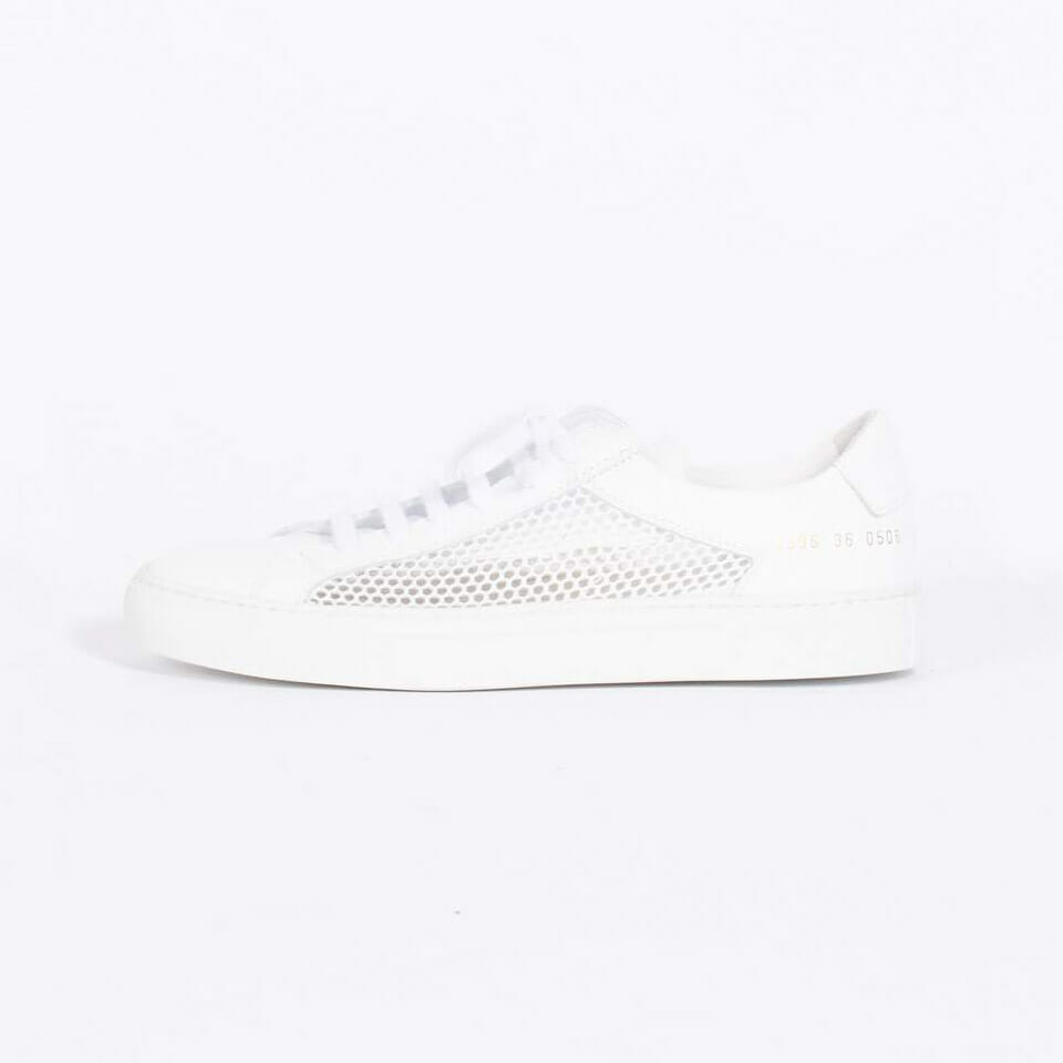 White Leather and Mesh Sneakers