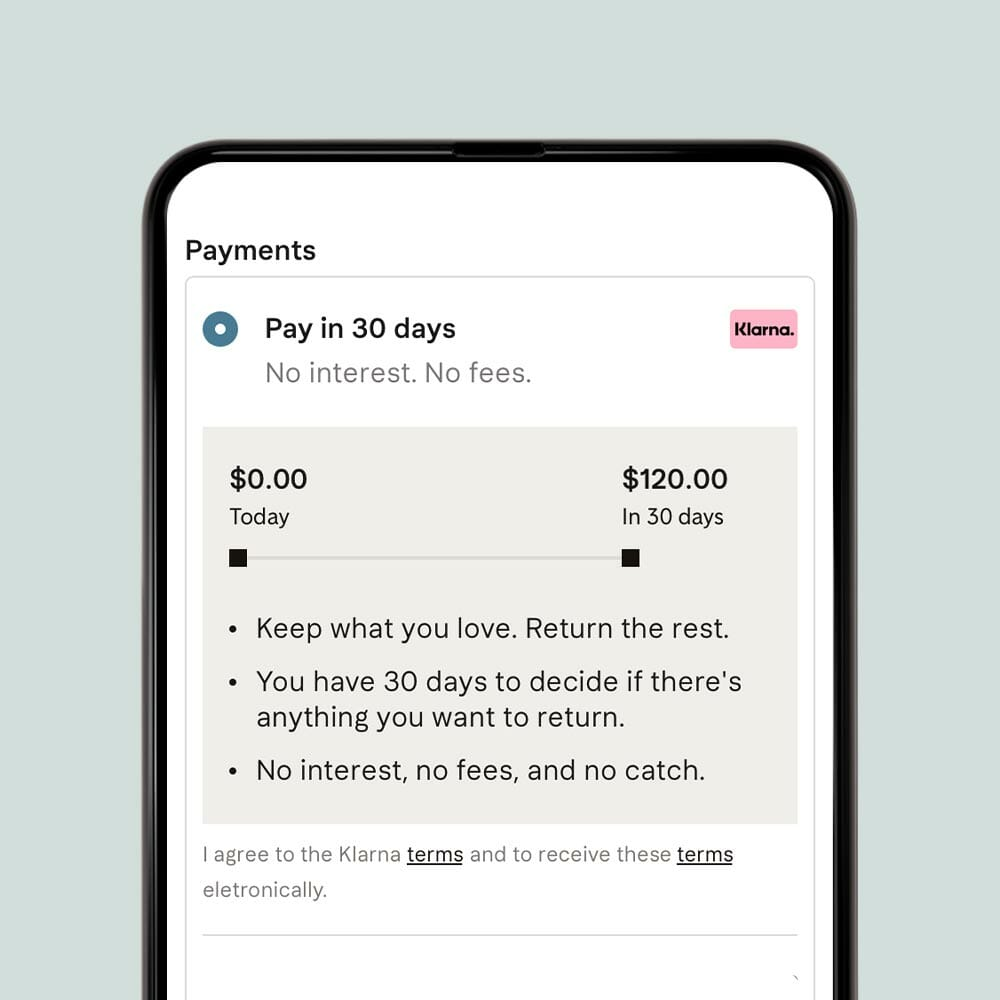 Pay in 30 days with Klarna