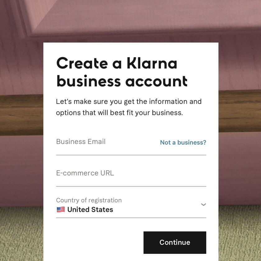 create a klarna business account