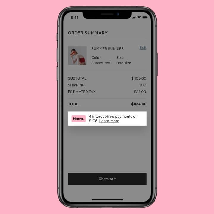 Phone showing online checkout