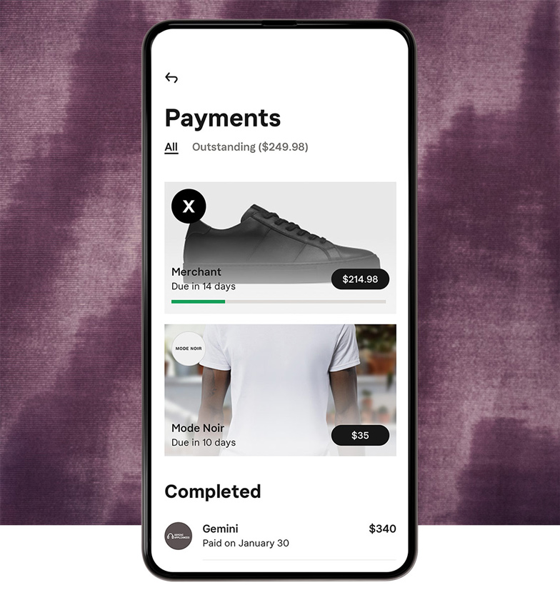 Payment reminders in the app