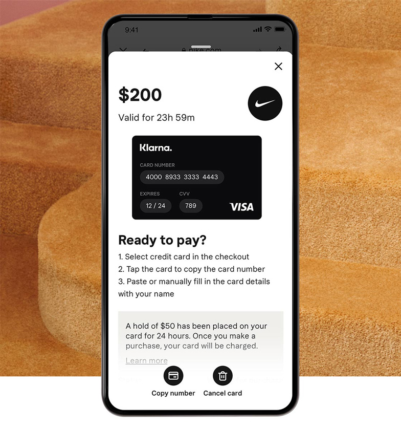 Creating a one-time card in the app