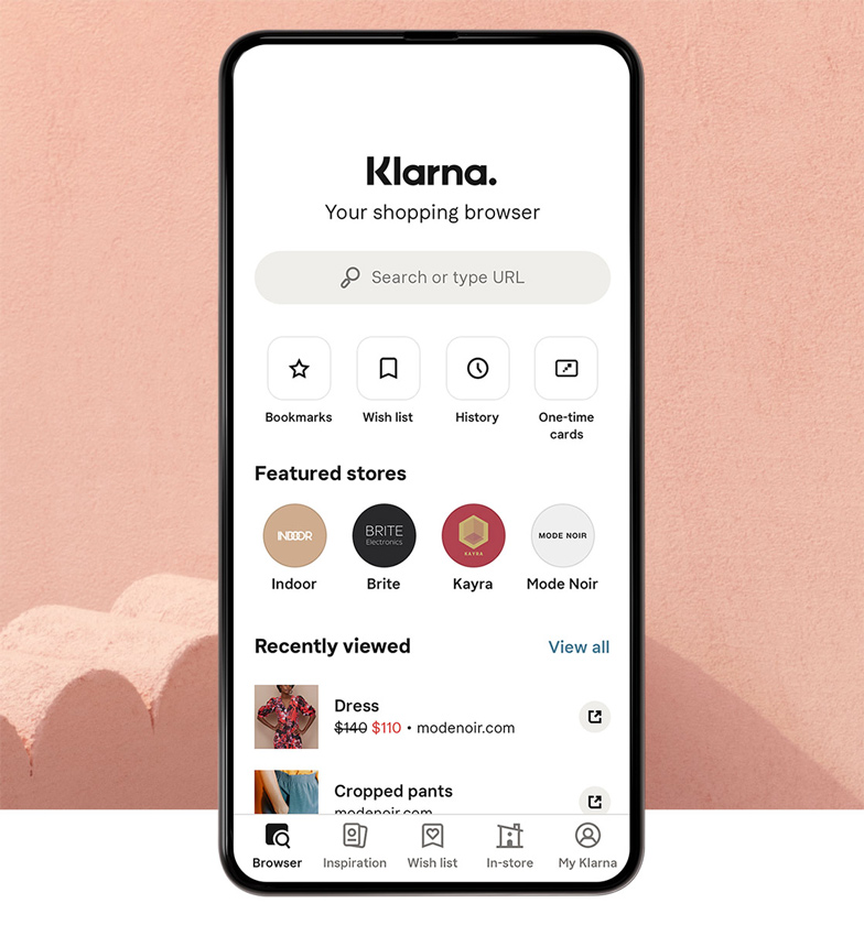 Klarna app showing featured stores and recently viewed