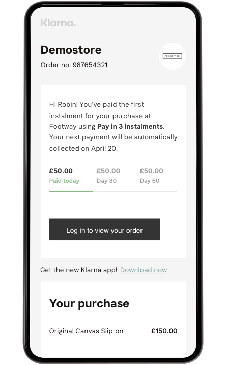 Klarna Pay Later Installments email