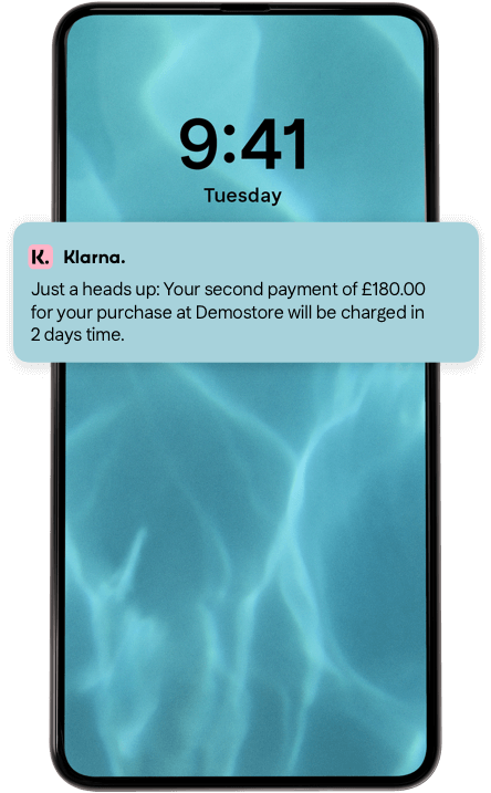 Push notification about your upcoming Klarna payment.