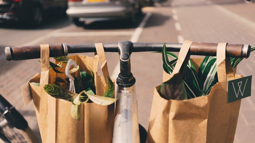 shopping carried on bicycle