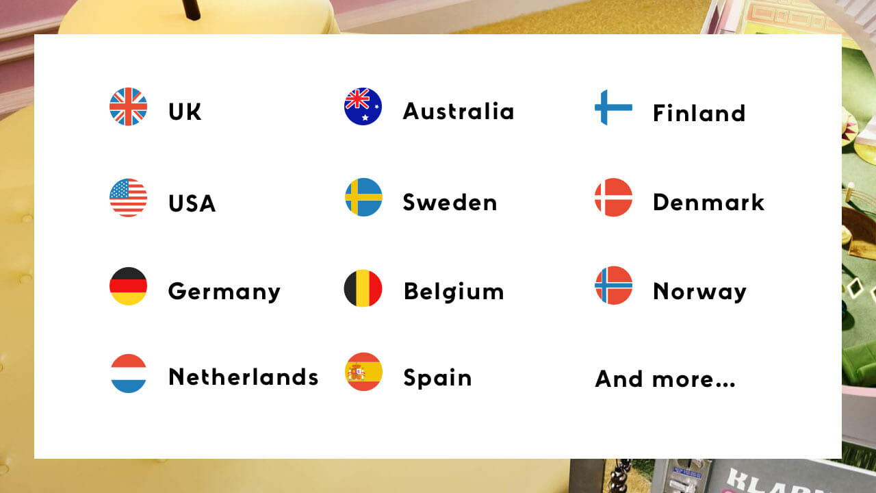 List of countries Klarna's payment solution will work in