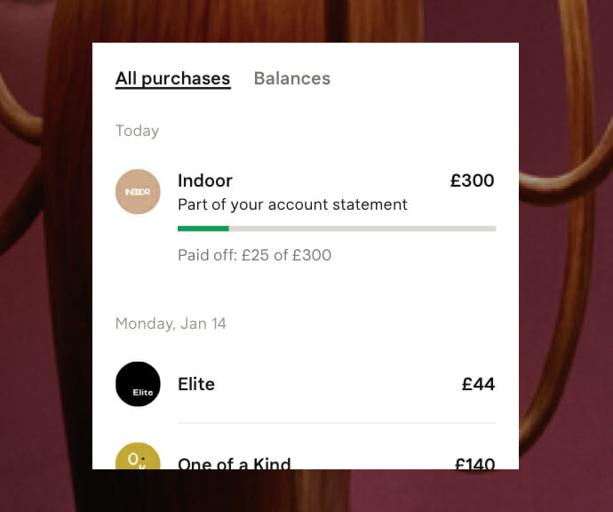 Screenshot from Klarna app where customers have an overview of their purchases and can easily manage their orders