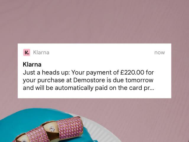 Klarna payment notification