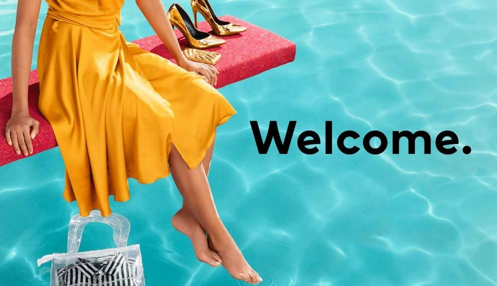 Welcome written on image with woman on diving board with