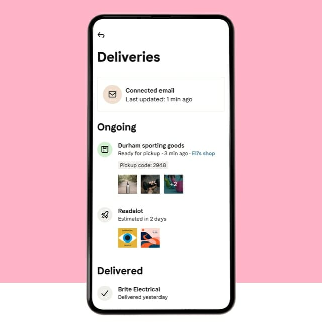Track all your deliveries mobile screen
