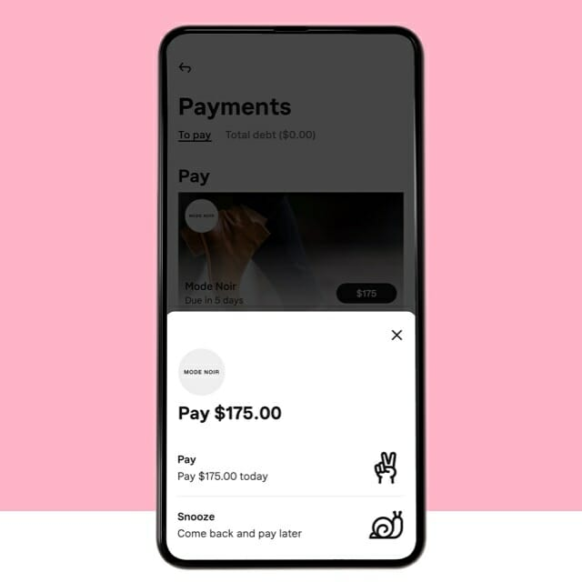 Snooze your payments mobile screen