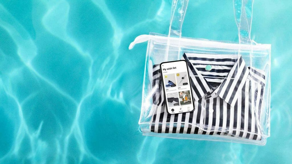 See through bag floating in a pool