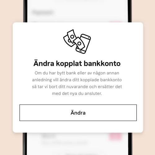 Ändra kopplat bankkonto