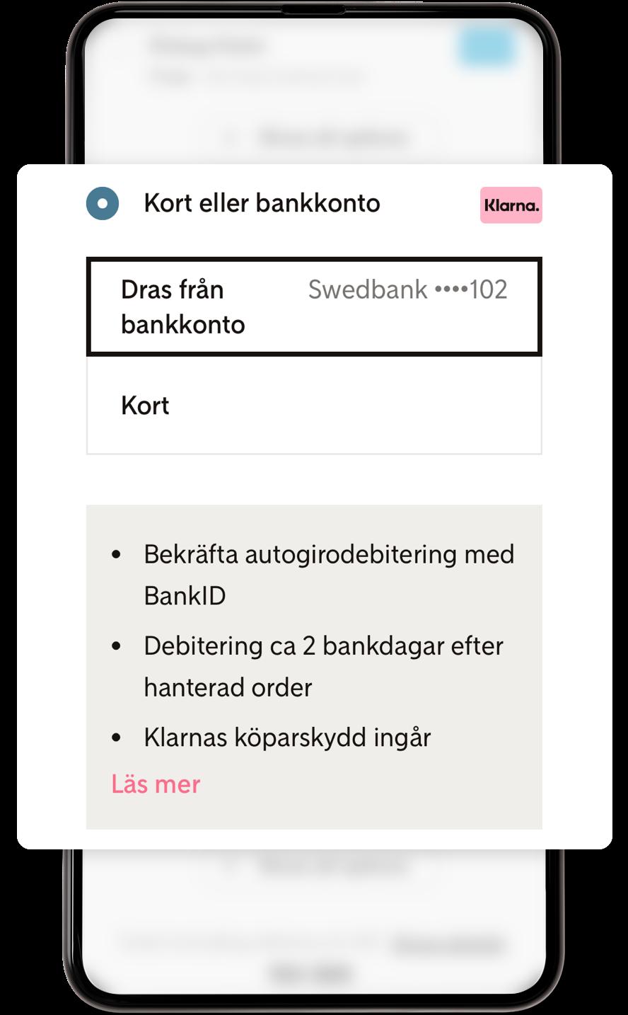 Betala direkt via Klarna med kort eller bankkonto