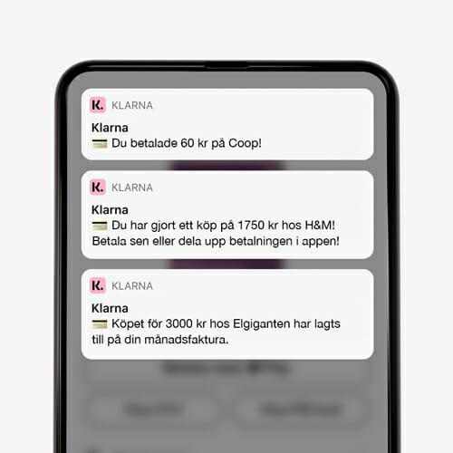 Håll dig uppdaterad med Klarnakortet och Klarna appen