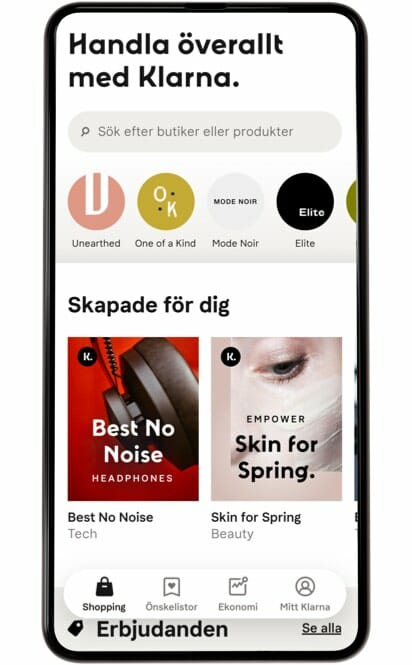 Klarna shopping app