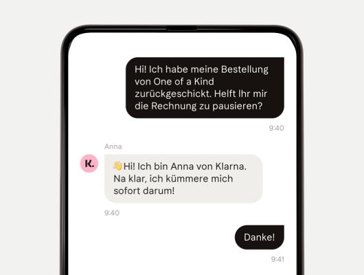 Kundenservice Chat in der Klarna App
